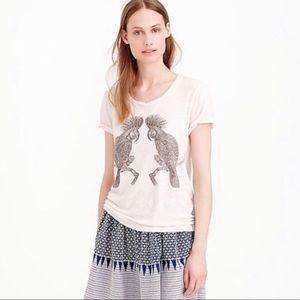 J. Crew Drapey Studded Parrot Tee